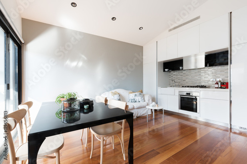Staande foto Sydney Open plan small apartment with kitchenette dining table and sofa