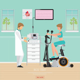 ECG Test or Exercise Test for Heart Disease on Exercise Bikes.