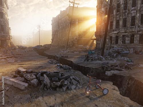 Fridge magnet ruins of a city