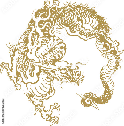 Japanese traditional dragon illustration