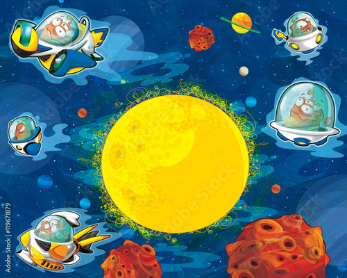 Foto op Aluminium Kosmos Cartoon aliens subject - ufo - star - space for text - happy and funny mood - illustration for children