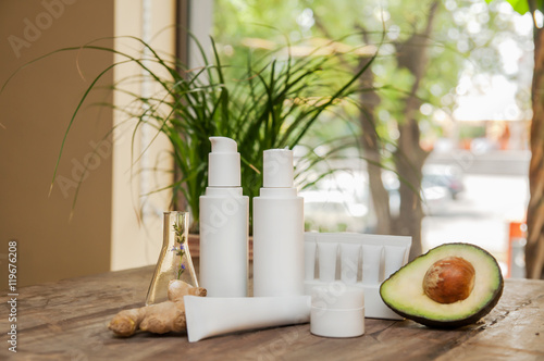 SPA composition. Set of copyspace cosmetic bpttles and tubes. © jutaphoto