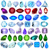 Fototapety illustration set of precious stones of different cuts and colors