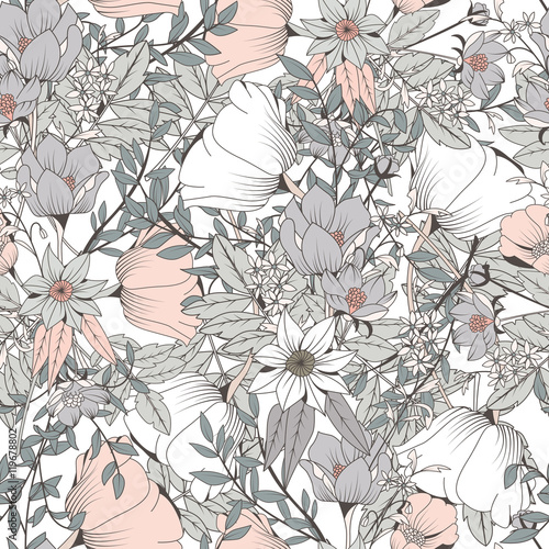 Cotton fabric Seamless pattern design with hand drawn flowers and floral elements, vector illustration
