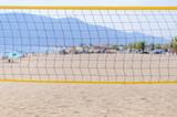 Beach volleyball net on the beach close
