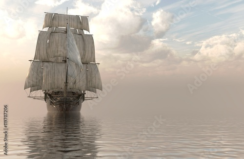 3D Illustration Sailboat On The Sea - 119707206