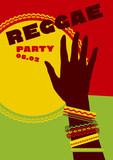 durum sun and tribal human hand with bracelets. reggae folk musi