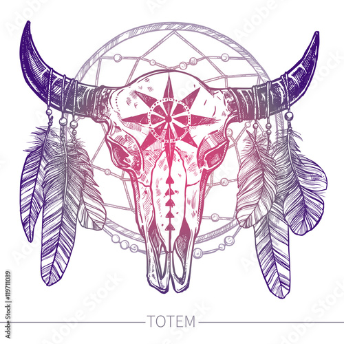buffalo-skull-with-feathers-and-dreamcatcher-native-american-totem