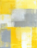 Grey and Yellow Abstract Art Painting - 119711801