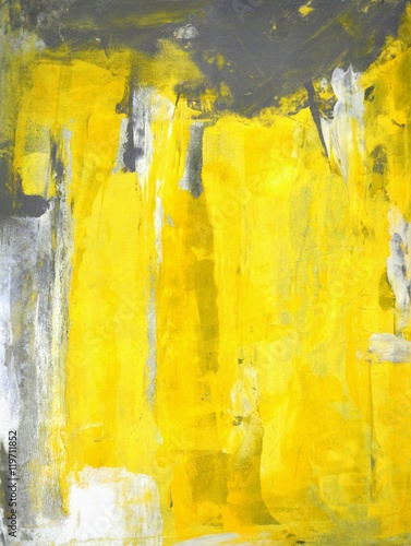 Grey and Yellow Abstract Art Painting - 119711852