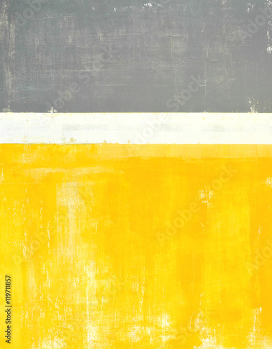 Grey and Yellow Abstract Art Painting - 119711857