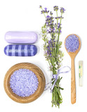 Fototapety lavender, sea salt, aromatic oil and soap on a white background