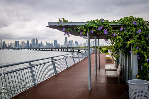 Covered benches on Cinta Costera - Panama City, Panama © diegograndi