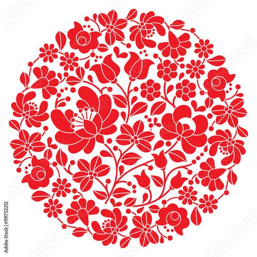 Fototapeta Kalocsai folk art embroidery - red Hungarian round floral folk pattern