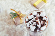 xmas gift box and cacao with marshmallow