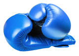 leather boxing gloves blue isolated