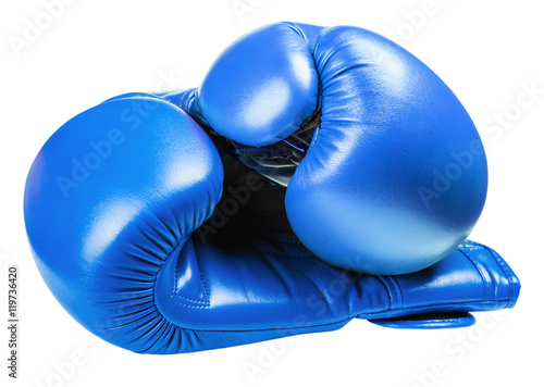 Poster leather boxing gloves blue isolated