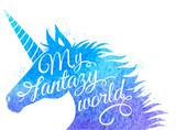 Blue watercolor unicorn
