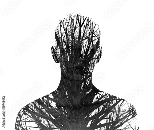 Double Exposure of silhouette and winter trees - 119743492
