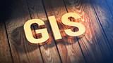 Acronym GIS on wood planks