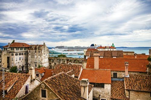 Aluminium Split, Croatia. Town houses and sea port