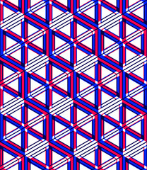 Graphic seamless abstract pattern, regular geometric colorful 3d