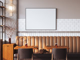 Fototapety Bright restaurant interior with blank canvas. 3d rendering