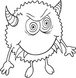 Cute Angry Monster Doodle Vector Illustration Art
