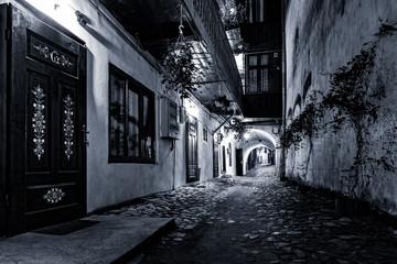 Moody monochrome view of a cobblestone street passage in the old city center of Sibiu, Romania