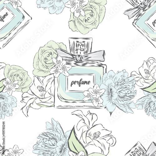 Materiał do szycia Perfume bottle vector. Trendy print. Fashion, Style.