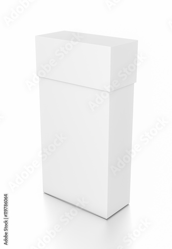 White thin vertical rectangle blank box with cover from top side angle.