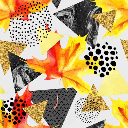 Fototapeta Abstract autumn geometric seamless pattern.