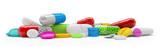 Bunte, farbenfrohe Medikamente - Tabletten, Pillen, Kapseln - 119800405