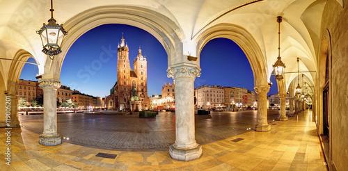 Zdjęcia na płótnie, fototapety na wymiar, obrazy na ścianę : Cracow, Krakow Market Square at night, cathedral, Poland