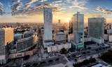 Warsaw city with modern skyscraper at sunset, Poland © TTstudio
