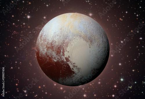Poster Solar System - Pluto. Dwarf planet in the Kuiper belt.