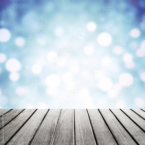 Billede Old vintage  wood panel tabletop with Festive Blurry sparkle gli