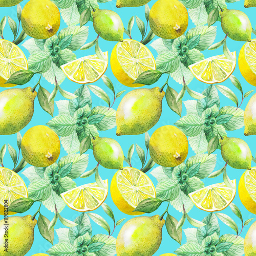 Nice handmade pattern of tea leafs and citrus fruits: lemon, grapefruit, orange, mint, lime. Watercolor.