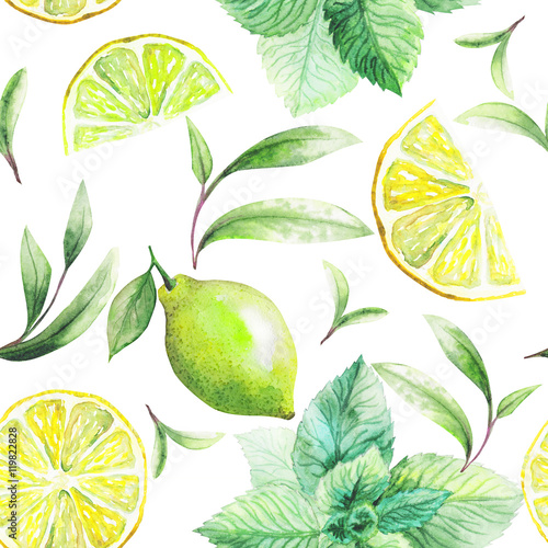 Nice handmade pattern of tea leafs and citrus fruits: lemon, grapefruit, orange, mint, lime. Watercolor.  - 119822828