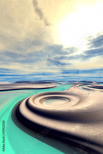 Panel Szklany Fantasy alien planet. Mountain and lake. 3D rendering