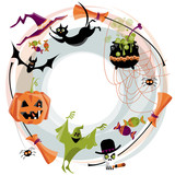 Tradional halloween wreath. Halloween elements. Broom, cauldron, cat, hat, bat, candy, ghost, spider, pumpkin, skull.