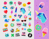 Fototapety Pop art fashion chic patches, pins, badges and stickers