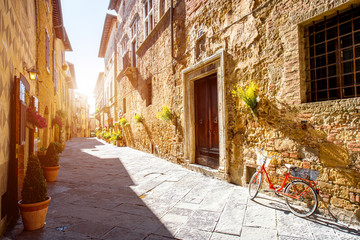 Street view in Pienza town in Tuscany region in Italy