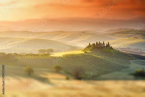 Deurstickers Toscane Beautiful tuscan landscape view in Val dOrcia region near Pienza town on the morning in Italy