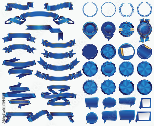 set of blue ribbons and certificate seals and badges buy photos