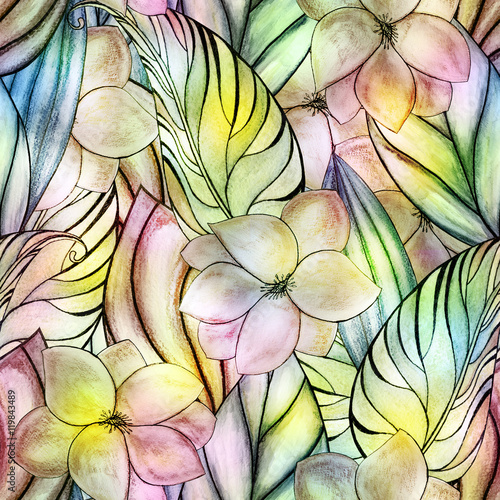 floral watercolor seamless pattern © Kseniia Veledynska