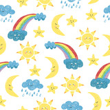 Children drawings seamless pattern. Vector colorful background with doodle sun, moon, clouds and rainbow.