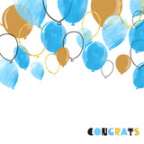 Fototapety Watercolor blue and glittering gold balloon. Vector celebration background.