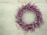 Purple autumn heather flower wreath - 119846658