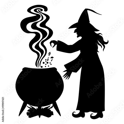 Witch brews a potion in a cauldron